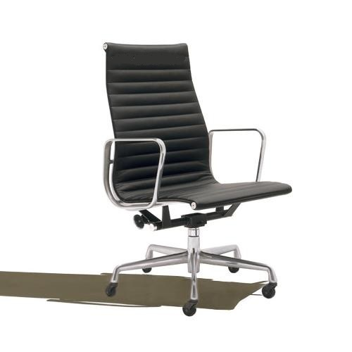 Eames High Back Executive Office Chair Black Italian Leather Wheels EBay