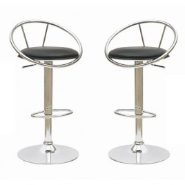 Height Adjustable PVC Leather Bar Stools Black