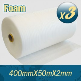 3 x Polyfoam Foam Wrap 400mm X 50m 2mm Thick