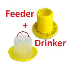 Chicken Poultry Feeder and Drinker Set