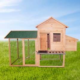 2M Large Villa Chicken Coop Hen House With Nesting Egg Cage