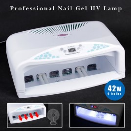 NEW 42W UV Lamps Lights Nail Art Gel Curing Dryer SIX 7W Bulbs With Fan & Timers