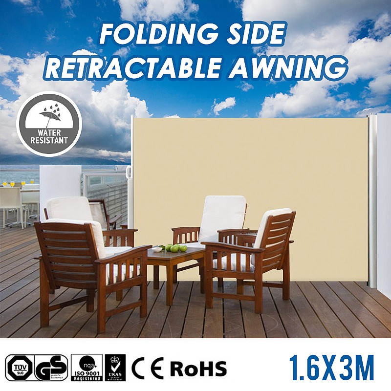 1 6x3m Aluminium Frame Folding Side Retractable Awning