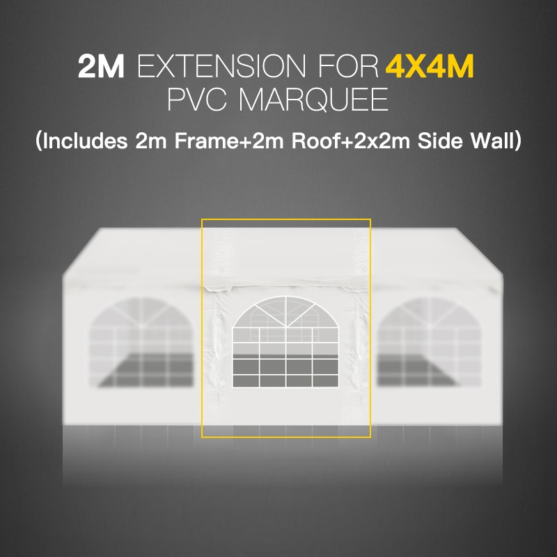 2m Marquee Extension For 4x4m Gazebo Heavy Duty Party Tent Pvc