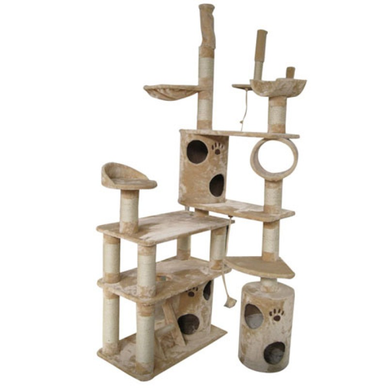 Cat tree corner scratch post playzone cubby house 9 level 260cm cat cubby house pet supplies Home furniture packages australia