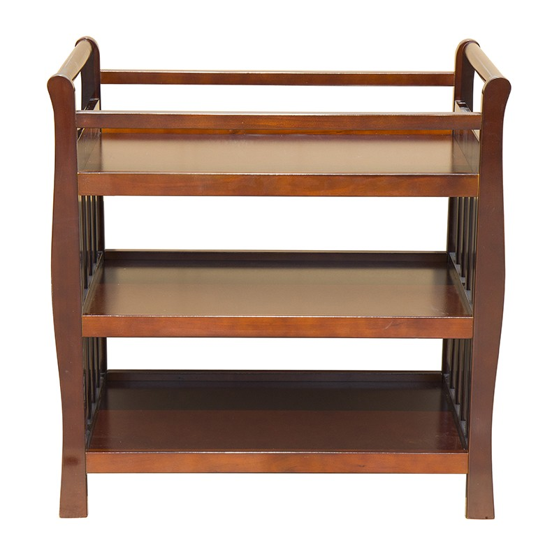 Baby Sleigh Change Table Wooden 3 Tier Change Table Walnut