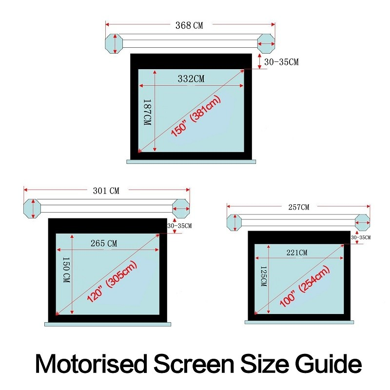 Electric Motorised TV Cinema HD Projector Screen 150