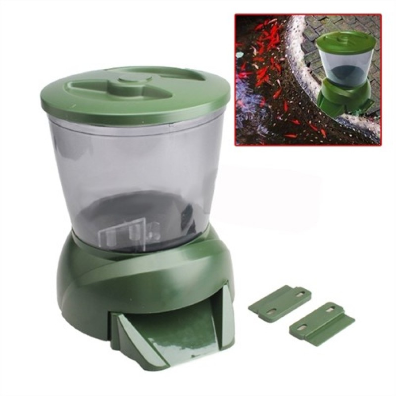 Gross green automatic aquarium digital tank pond fish food for Automatic pond fish feeder