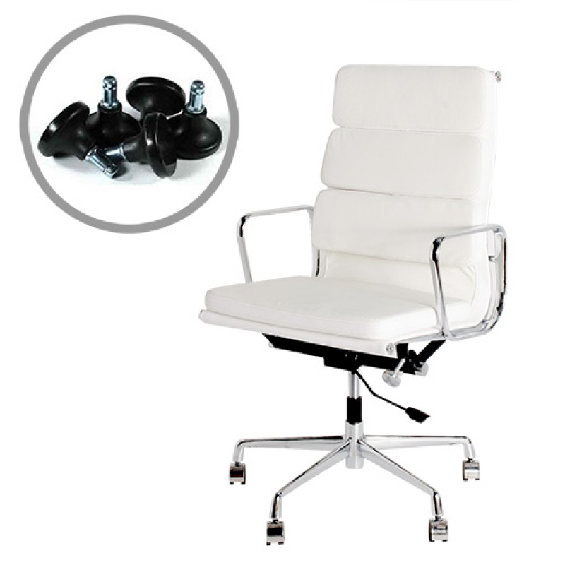 eames high back soft pad office chair italian leather hc021a white
