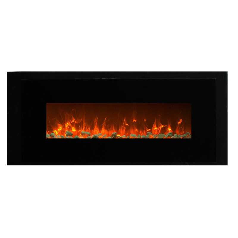 """1500W 50"""" Black Wall Mounted Electric Fireplace, Heater ..."""