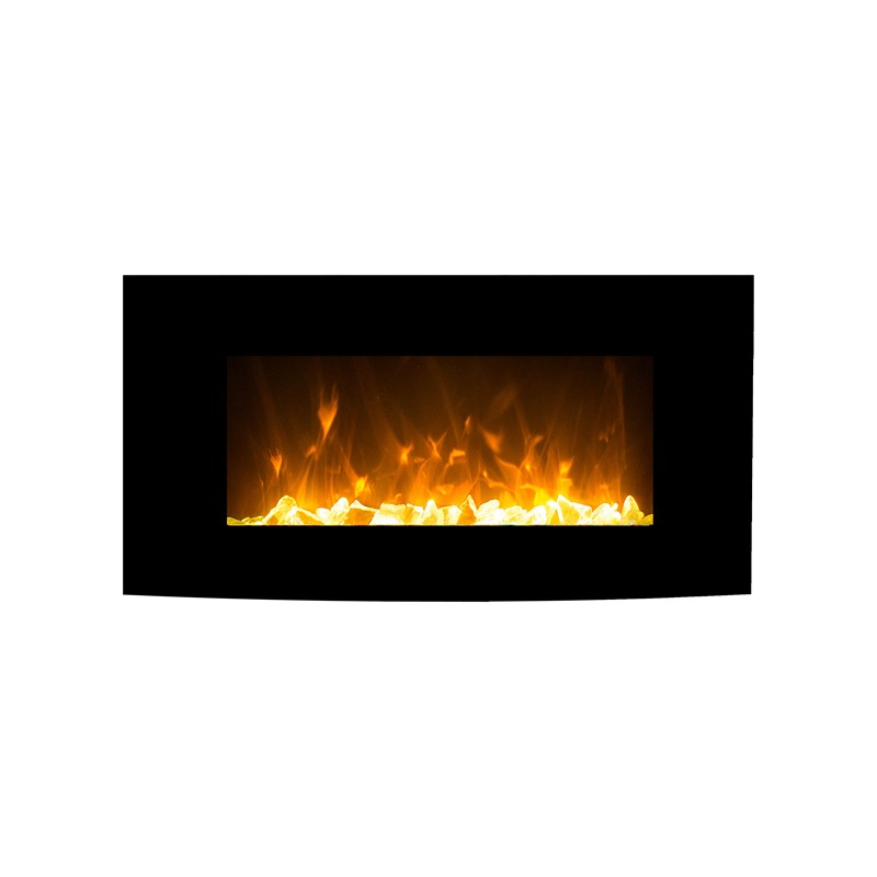 1500w 36 Quot Black Curved Wall Mounted Electric Fireplace