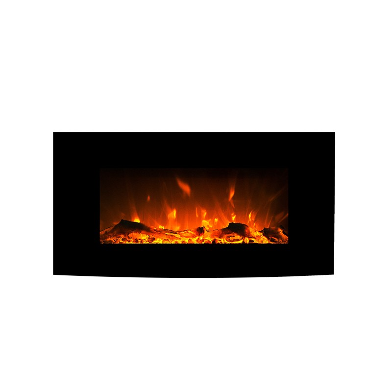 1500w 36 Black Curved Wall Mounted Electric Fireplace Heater Fire Flame