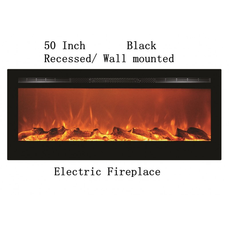 50 Black Built In Recessed Wall Mounted Heater Electric Fireplace