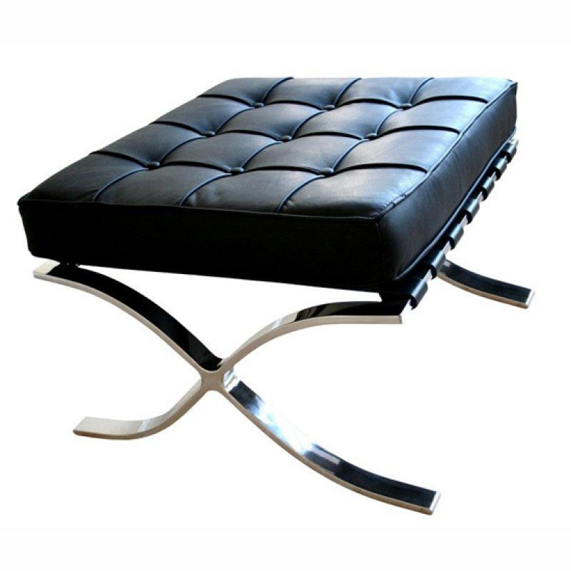 Barcelona inspired chair ottoman black italian leather for Best barcelona chair replica