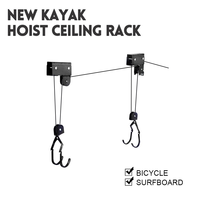 Superbe Kayak Hoist Bike Lift Pulley System Garage Ceiling Storage Rack Capacity  60KG