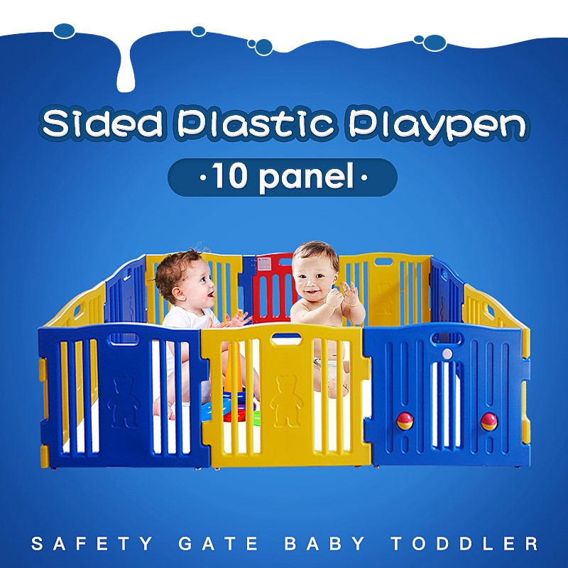 Sided Plastic Playpen Safety Gate Baby Toddler Child 10 Panel