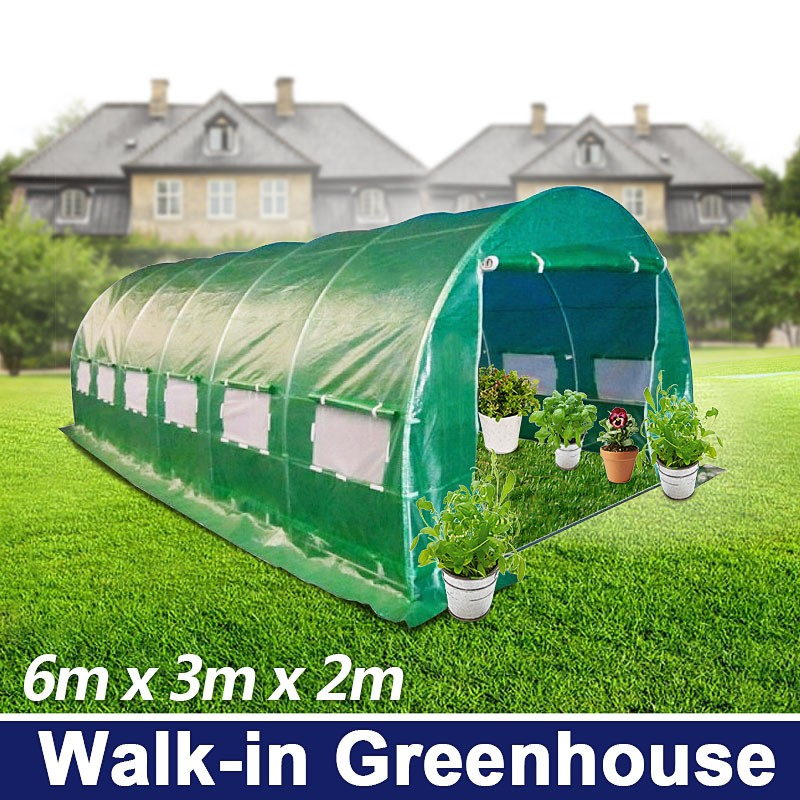 6m X 3m Walk In Galvanised Frame Polytunnel Greenhouse
