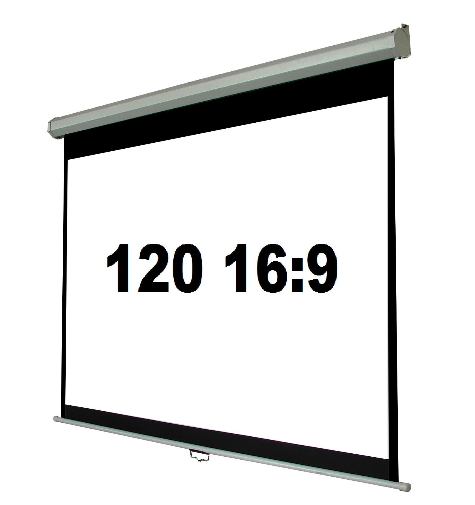 120 Inch 16 9 Manual Pull Down Projector Screen With Auto Lock
