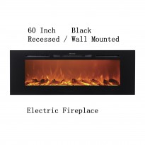 "60"" Black Built-in Recessed / Wall mounted Heater Electric Fireplace"