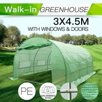Garden Greenhouse Shed 3x4.5m PE Polytunnel with Windows Doors  (Pre-order QLD stock)