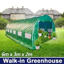 6m x 3m Walk-in Galvanised Frame Polytunnel Greenhouse
