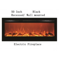 "50"" Black Built-in Recessed / Wall mounted Heater Electric Fireplace"