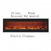 """72"""" Black Built-in Recessed / Wall mounted Heater Electric Fireplace"""