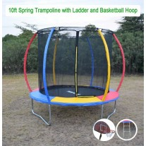 10ft Rainbow Mini Trampoline & Enclosure Ladder Basketball Hoop Set