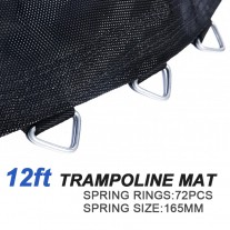Replacement Jumping trampoline Mat  for 12 Feet Trampoline with 72 pcs V-ring for L165 mm spring