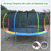14ft Rainbow Trampoline & Enclosure Ladder Basketball Hoop Set