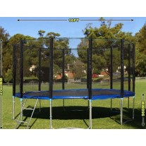 16ft Outdoor Trampoline Enclosure Set with Safety Net and Ladder