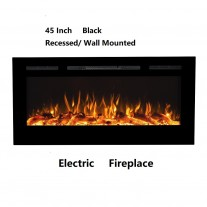 "45"" Black Built-in Recessed / Wall mounted Heater Electric Fireplace"
