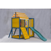 Outdoor Wooden Tower Kids Play Cubby House Cubbyhouse Sandpit Slide Climbing Rock 2049