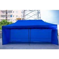 3X6M Folding Gazebo Outdoor Marquee Pop Up Navy Blue 3 sided wall