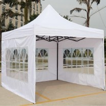 3X3M Folding Gazebo Outdoor Marquee Pop Up White 3 sided window wall