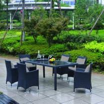 7pc PE Wicker Outdoor Dining Set - Black (9101)