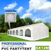 6x12m Premier Grade Galvanized Frame Marquee PVC Fabric Party Tent with Window Flap