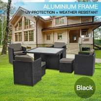 9pc PE Wicker Outdoor Aluminum Garden Furniture Dining Setting - Black (9010)