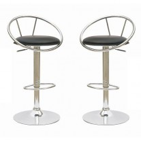 Deluxe Height Adjustable PVC Leather Bar Stools x 2 Black