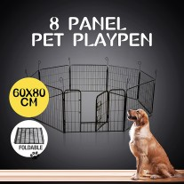 8 Panel 80x60cm Pet Playpen Portable Strong Fence Enclosure for Dog Puppy Rabbit