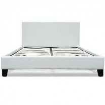 California Leather Bed Frame (Queen Size, White Colour)