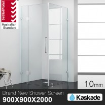 Shower Screen 900x900x2000mm Frameless Glass