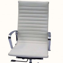 Eames High Back Executive Chair Italian Leather White with Fixed Gasket