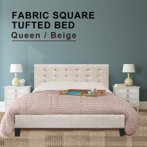 Fabric Bed Frame (Queen size, Beige color)