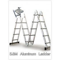 5.8M Multi Purpose Adjustable Aluminum Ladder W/T Workshelf