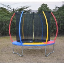 8ft Rainbow Mini Trampoline & Enclosure Set For Indoor and Outdoor