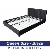 Deluxe Queen Bed Frame PU Leather Black LB12