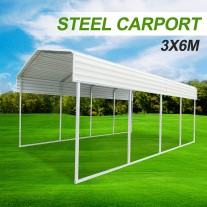 Metal Steel Carport 3.3x6m Cream