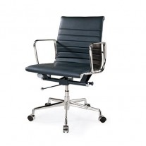 Eames Reproduction Offic Chair Black Italian Leather - Premium