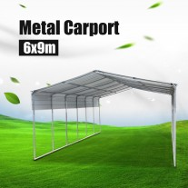 Portable Metal Steel Carport 6x9m Cream